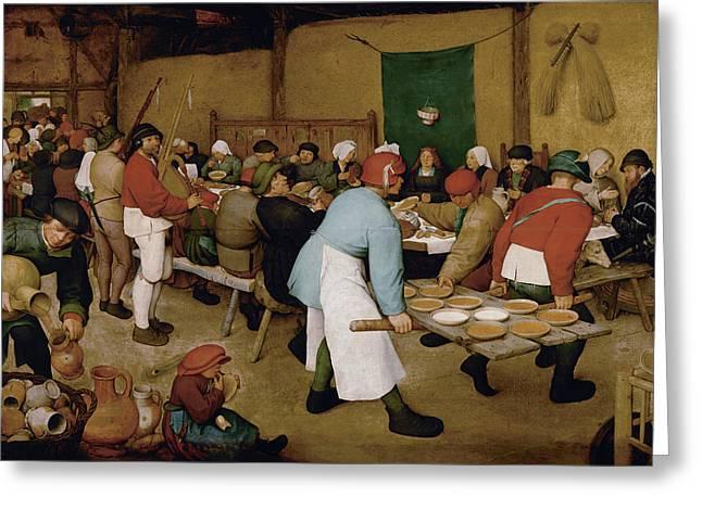 Reception Paintings Greeting Cards - The Peasant Wedding Greeting Card by Pieter Bruegel the Elder