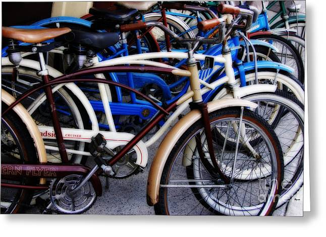 Flyer Digital Greeting Cards - The Pedaling of Vintage Time Greeting Card by Steven  Digman