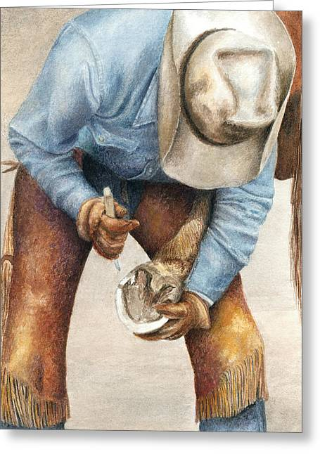 Farrier Greeting Cards - The Pedicure Greeting Card by Pat Erickson
