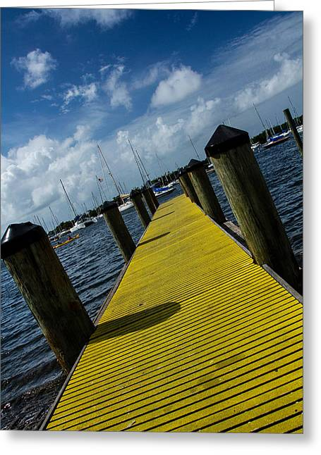 Yellow Sailboats Greeting Cards - The Peir  Greeting Card by Frank Molina
