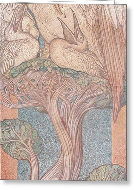 Pre-raphaelites Photographs Greeting Cards - The Pelican, Cartoon For Stained Glass For The William Morris Company, 1880 Coloured Chalk On Paper Greeting Card by Sir Edward Coley Burne-Jones