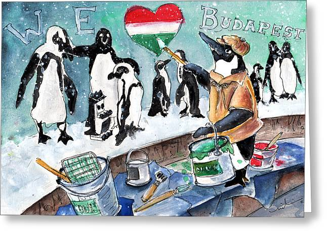 The Penguins From Budapest Greeting Card by Miki De Goodaboom