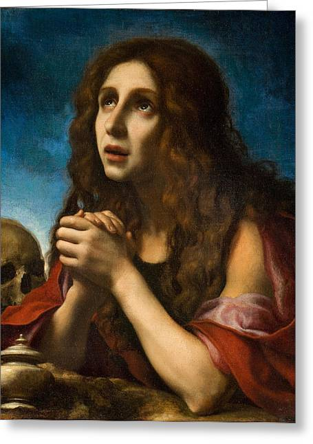 Praying Hands Paintings Greeting Cards - The Penitent Magdalen Greeting Card by Carlo Dolci