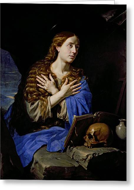 Weeping Photographs Greeting Cards - The Penitent Magdalene, 1657 Oil On Canvas Greeting Card by Philippe de Champaigne