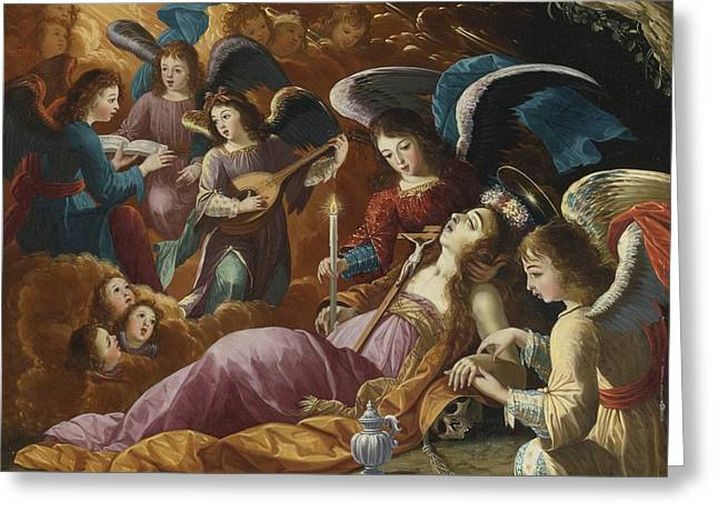 Cabrera Greeting Cards - The Penitent Magdalene Comforted By Angels Greeting Card by Josefa De Ayala E Cabrera