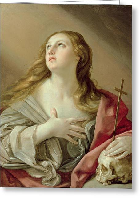 Religious Icon Greeting Cards - The Penitent Magdalene Greeting Card by Guido Reni