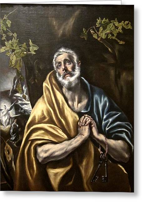 Bravery Greeting Cards - The Penitent Saint Peter Greeting Card by El Greco