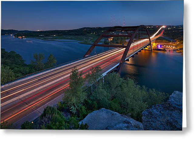 The Pennybacker Bridge At Twilight Greeting Card by Tim Stanley