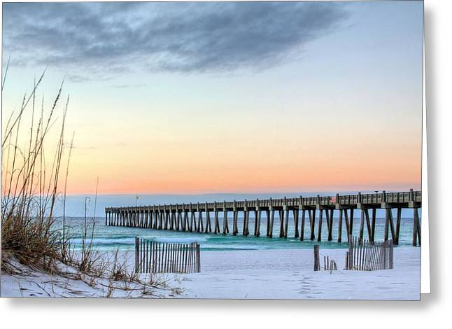Emerald Coast Greeting Cards - The Pensacola Beach Pier Greeting Card by JC Findley