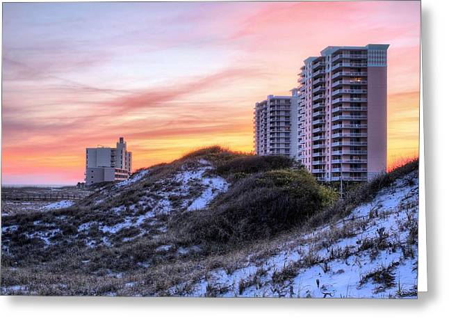 Pc Greeting Cards - The Pensacola Beach Skyline Greeting Card by JC Findley