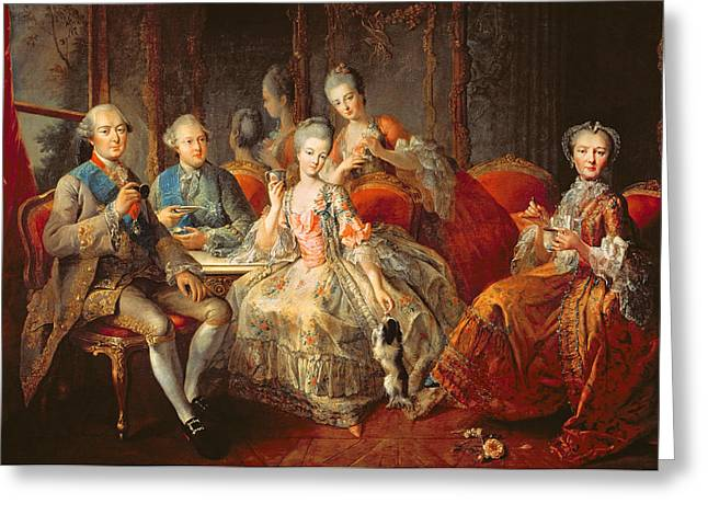 Left Greeting Cards - The Penthievre Family Or The Cup Of Chocolate, 1768 Oil On Canvas Greeting Card by Jean Baptiste Charpentier