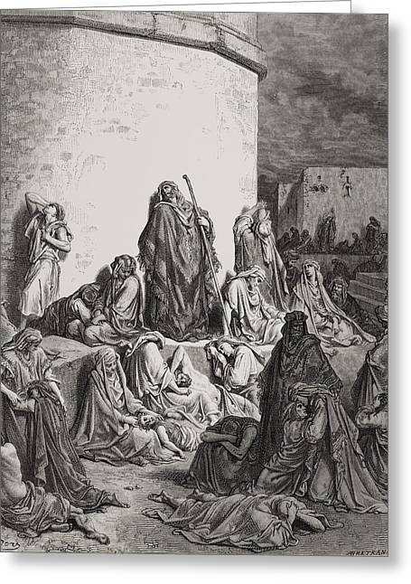 The Holy Bible Greeting Cards - The People Mourning over the Ruins of Jerusalem Greeting Card by Gustave Dore