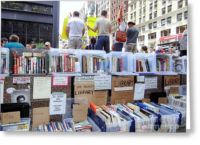Occupy Greeting Cards - The Peoples Library Greeting Card by Ed Weidman