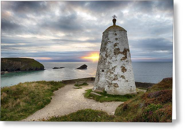 Kernow Greeting Cards - The PepperPot at Portreath in Cornwall Greeting Card by Helen Hotson