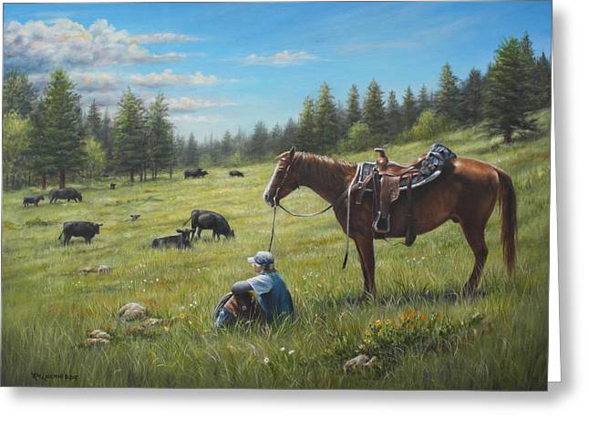 Ranch Life Greeting Cards - The Perfect Day Greeting Card by Kim Lockman