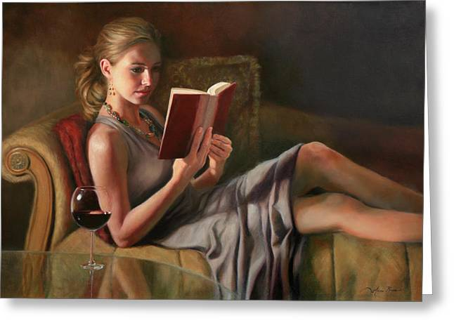 Portraits Oil Greeting Cards - The Perfect Evening Greeting Card by Anna Bain