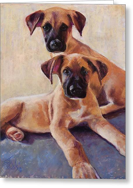 Puppies Pastels Greeting Cards - The Perfect Pair Greeting Card by Billie Colson