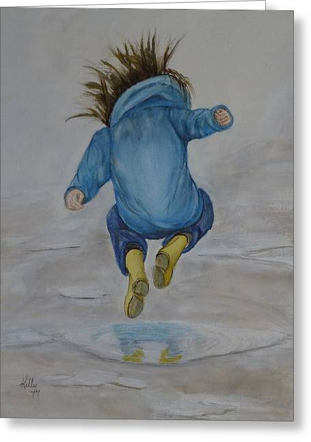Raining Greeting Cards - The Perfect Puddle... JUMP Greeting Card by Kelly Mills