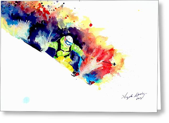 Ski Art Greeting Cards - The Perfect Turn Greeting Card by Angee Skoubye