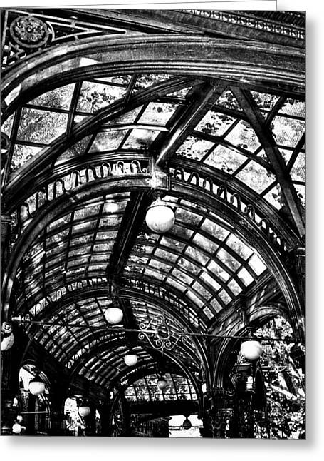 Moss Green Greeting Cards - The Pergola Ceiling Greeting Card by David Patterson