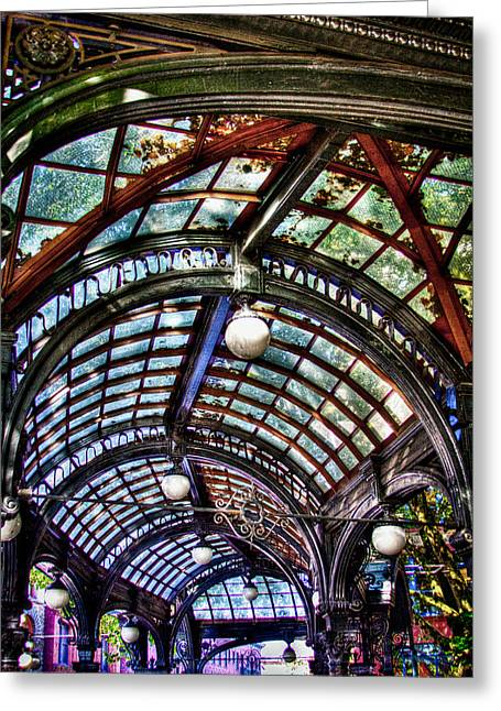 Moss Green Greeting Cards - The Pergola Ceiling in Pioneer Square Greeting Card by David Patterson