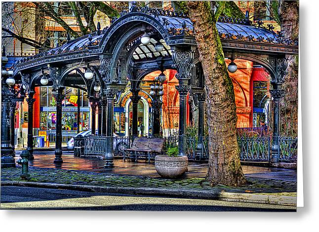 Moss Green Greeting Cards - The Pergola II Greeting Card by David Patterson