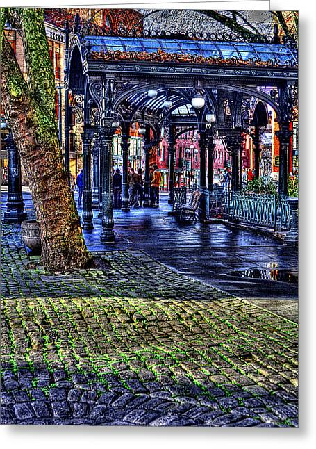 Moss Green Greeting Cards - The Pergola in Pioneer Square II Greeting Card by David Patterson