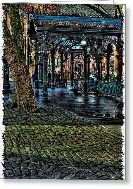 Moss Green Greeting Cards - The Pergola in Pioneer Square III Greeting Card by David Patterson