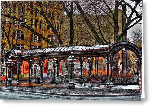 Moss Green Greeting Cards - The Pergola in Pioneer Square - Seattle  Greeting Card by David Patterson