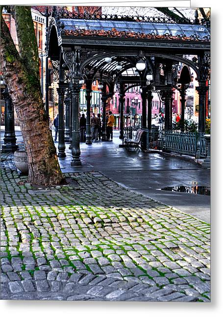 Moss Green Greeting Cards - The Pergola - Pioneer Square - Seattle Washington Greeting Card by David Patterson