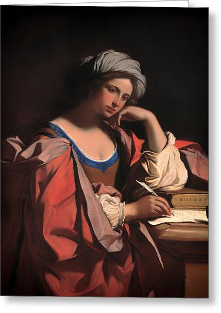 Foretelling Greeting Cards - The Persian Sibyl Greeting Card by Guercino