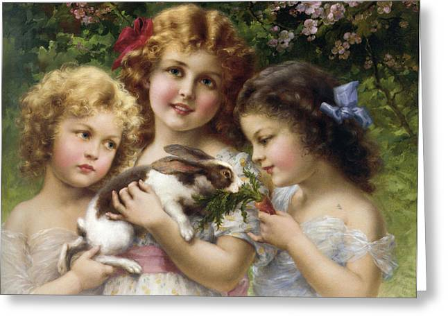 The Pet Rabbit Greeting Card by Emile Vernon