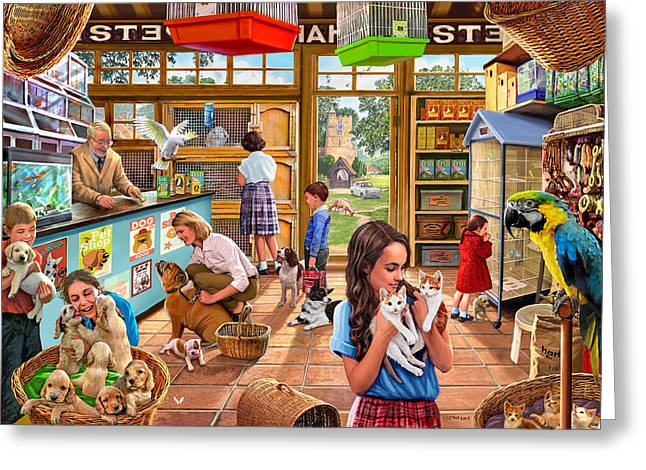 The Pet Shop Greeting Card by Steve Crisp