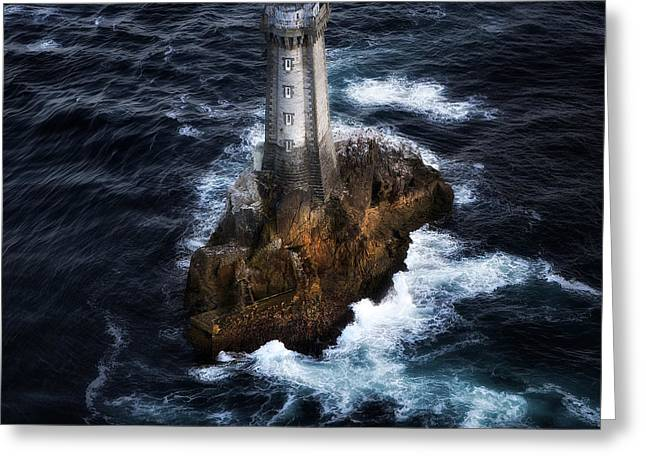 North Sea Pyrography Greeting Cards - The Phare Du Four To France Greeting Card by Gilles Lougassi