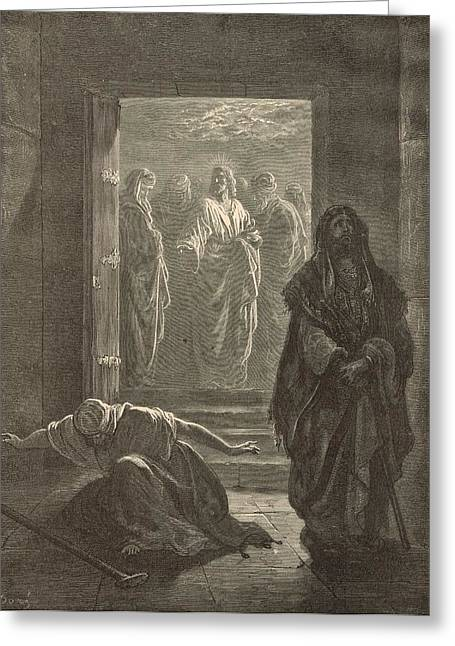 Adonai Greeting Cards - The Pharisee and the Publican Greeting Card by Antique Engravings