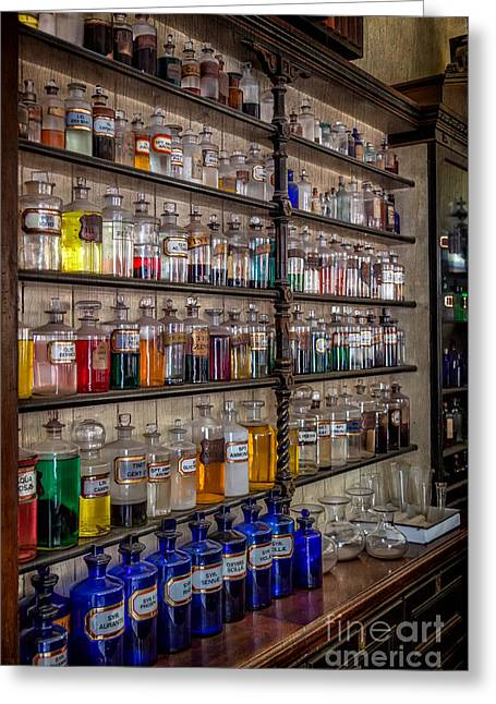 Cabinet Greeting Cards - The Pharmacy Greeting Card by Adrian Evans