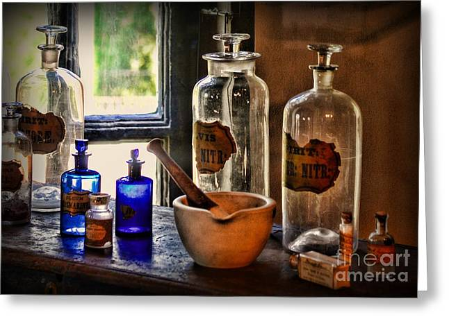 Old Grinders Photographs Greeting Cards - The Pharmacy Shelf Greeting Card by Paul Ward