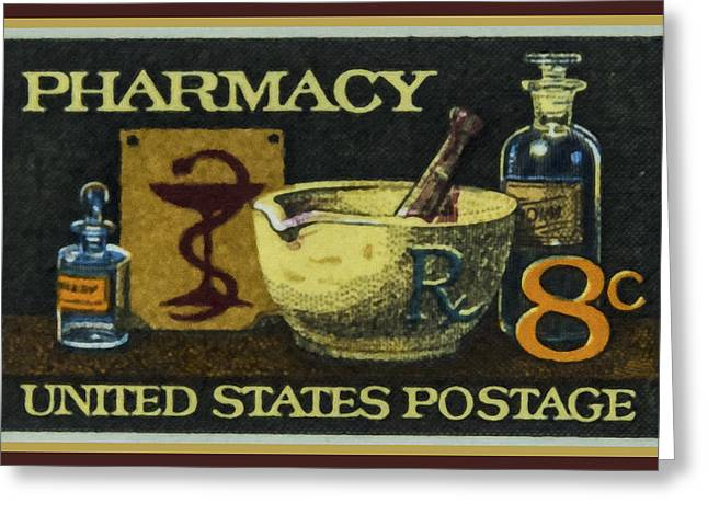 Old Objects Paintings Greeting Cards - The Pharmacy stamp Greeting Card by Lanjee Chee