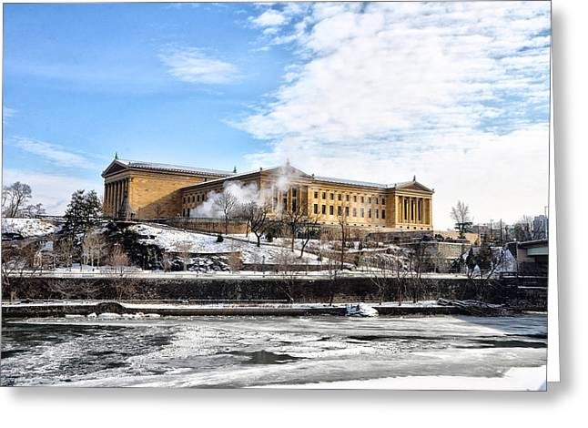 Philadelphia Art Museum Greeting Cards - The Philadelphia Art Museum in Wintertime Greeting Card by Bill Cannon