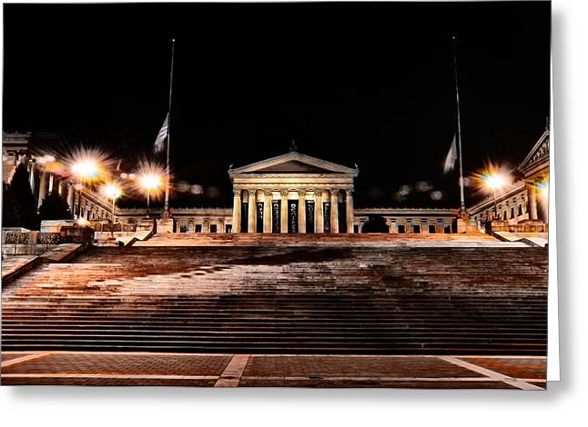 Phila Greeting Cards - The Philadelphia Art Museum Steps at Night Greeting Card by Bill Cannon