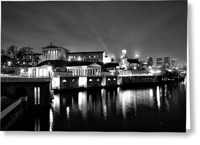 Phila Greeting Cards - The Philadelphia Waterworks in Black and White Greeting Card by Bill Cannon