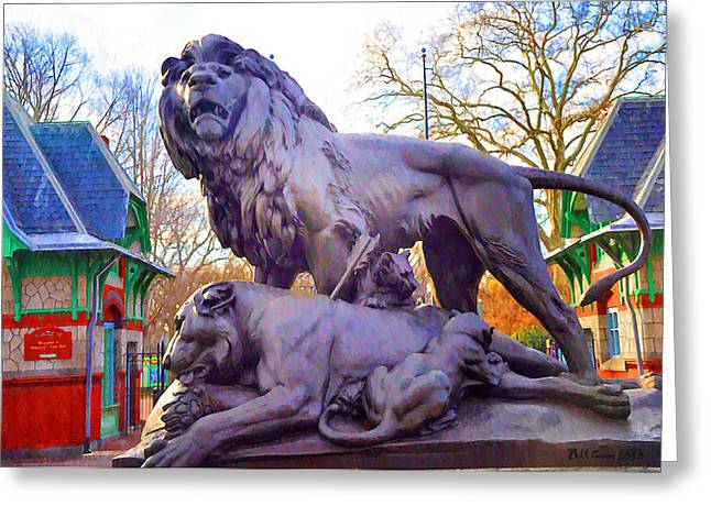 Lioness Greeting Cards - The Philadelphia Zoo Lion Statue Greeting Card by Bill Cannon
