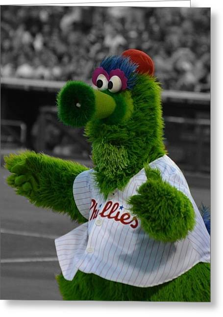 Phillie Photographs Greeting Cards - The Phillie Phanatic Greeting Card by David Ziegler
