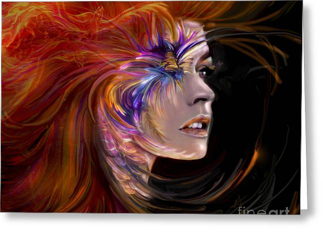 On Fire Mixed Media Greeting Cards - THE PHOENIX  fire flames and rebirth Greeting Card by Jaimy Mokos