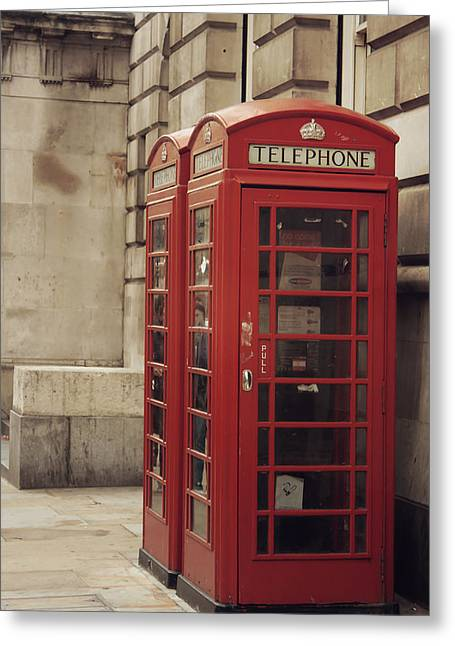 Red Photographs Pyrography Greeting Cards - The Phone Box Greeting Card by Danielle Mattson