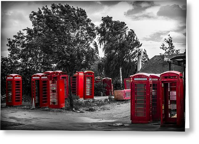 Disused Greeting Cards - The Phonebox Graveyard Greeting Card by Ian Hufton