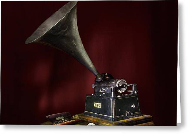 Edison Greeting Cards - The Phonograph 5 Greeting Card by Ann Garrett