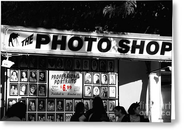 Carnie Greeting Cards - The Photo Shop Greeting Card by Cheryl Young