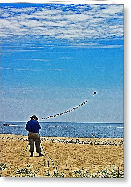 Shoreline Old Men Greeting Cards - The Photographer Greeting Card by Tom Gari Gallery-Three-Photography