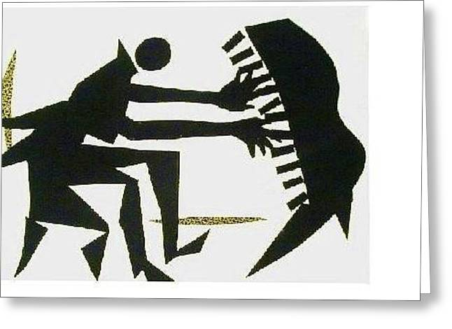Playing Tapestries - Textiles Greeting Cards - The Pianist Greeting Card by Ruth Yvonne Ash